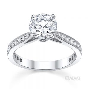 Australian Diamond Broker - New York 4 claw round brilliant cut diamond solitaire ring with grain set diamond band