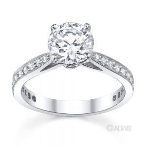 Australian Diamond Broker - New York 4 claw round brilliant cut diamond solitaire ring with grain set diamond band
