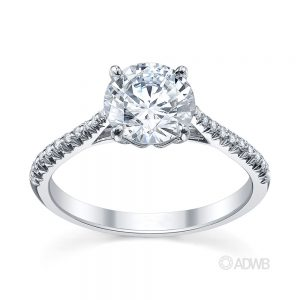 Australian Diamond Broker - Coco 4 claw round brilliant cut diamond solitaire ring with pave set diamond band