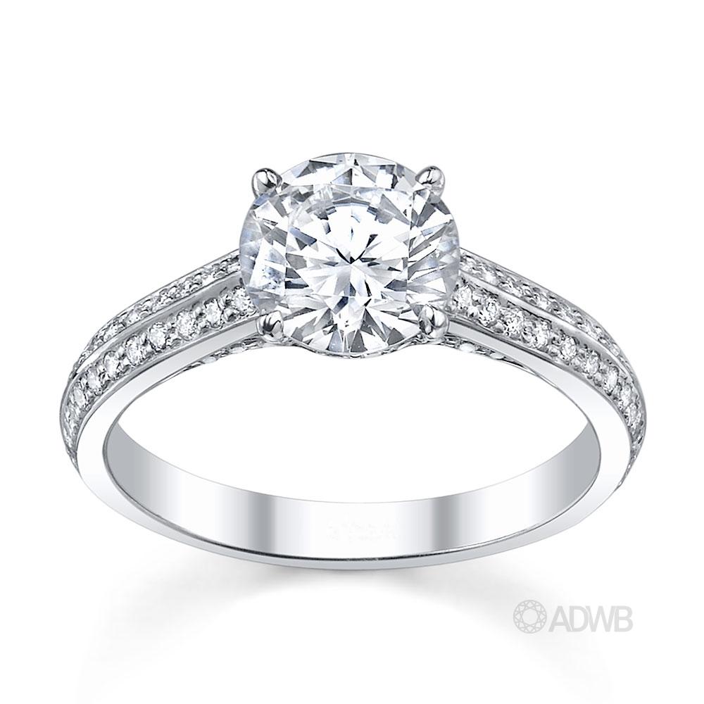 Australian Diamond Broker - Milan 4 claw diamond solitaire ring with diamond grain set coronet and grain set diamond knife edge band