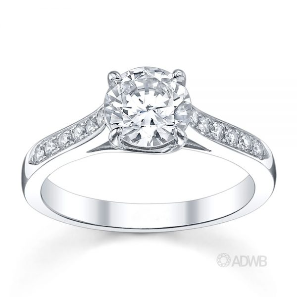 Australian Diamond Broker - Monaco 4 claw diamond solitaire ring with grain set diamond band