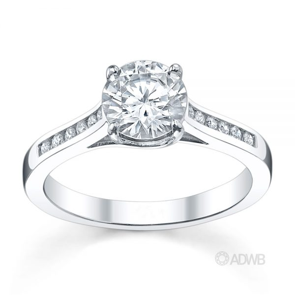 Australian Diamond Broker - Monaco 4 claw diamond solitaire ring with channel set diamond band