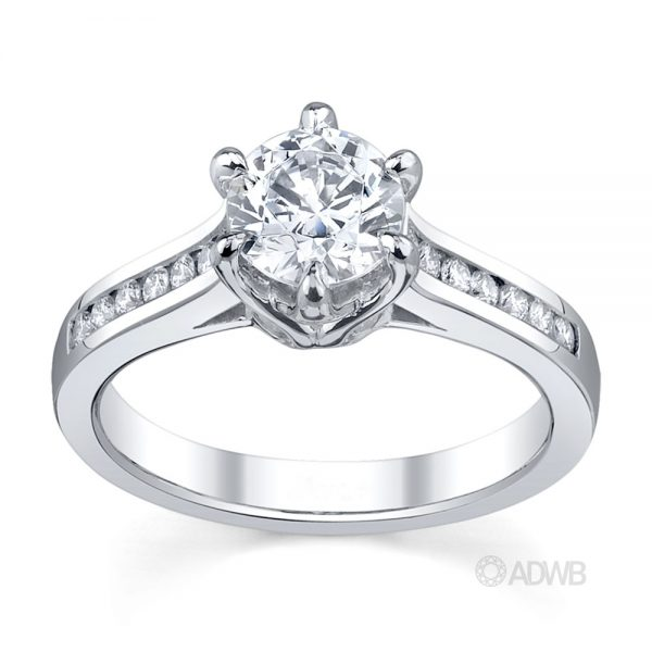 Australian Diamond Broker - Elegant 6 claw round brilliant cut diamond solitaire ring with channel set band