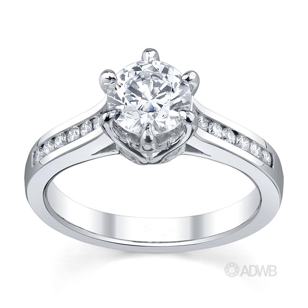 Australian Diamond Broker - Elegant 6 claw round brilliant cut diamond solitaire ring with channel set band