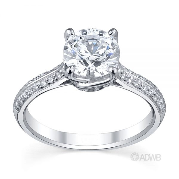 Australian Diamond Broker - Elegant 4 claw round brilliant cut diamond solitaire ring with knife edge grain set diamond band
