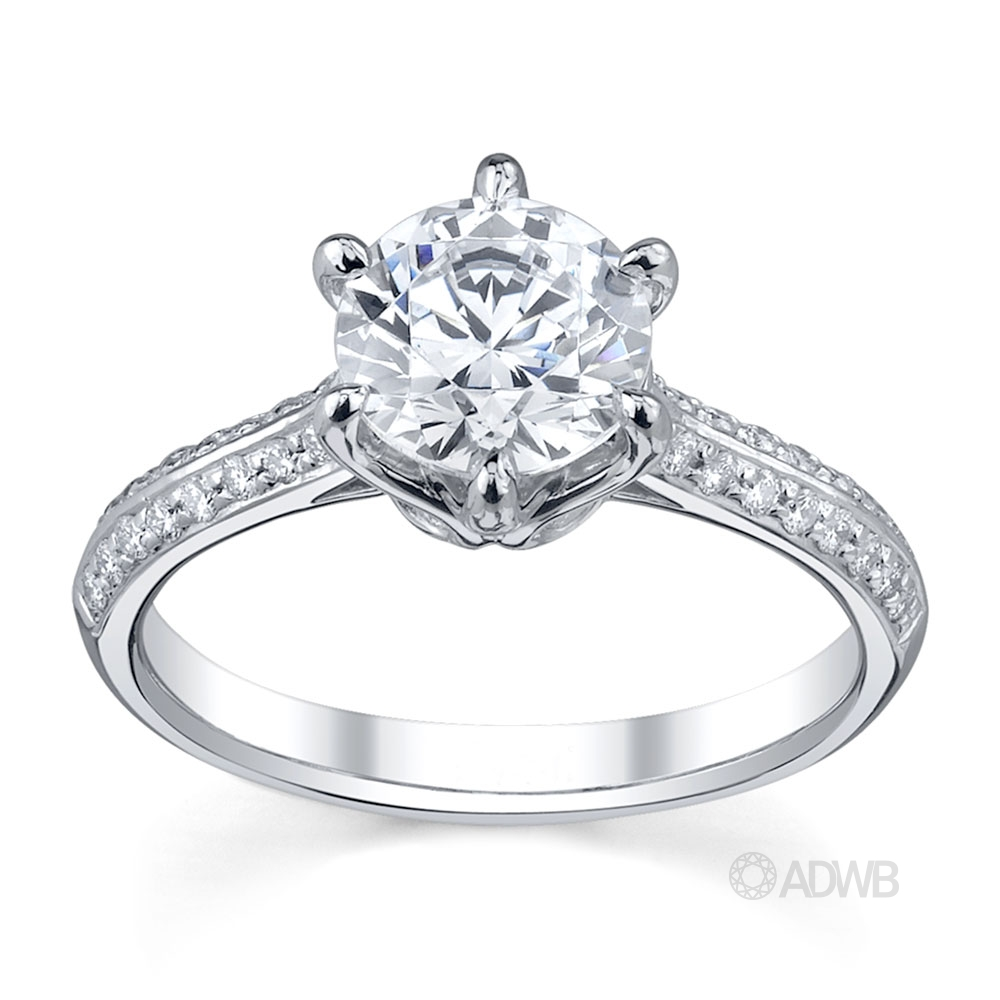 Australian Diamond Broker - Elegant 6 claw round brilliant cut diamond solitaire ring with grain set diamond band