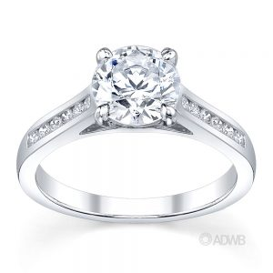 Australian Diamond Broker - Caroline 4 claw round brilliant cut diamond solitaire ring with round brilliant cut channel set diamond