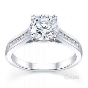 Australian Diamond Broker - Caroline 4 claw round brilliant cut diamond solitaire ring with round brilliant cut channel set diamond