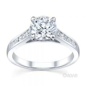 Australian Diamond Broker - Caroline 4 claw round brilliant cut diamond solitaire ring with princess cut channel set diamond