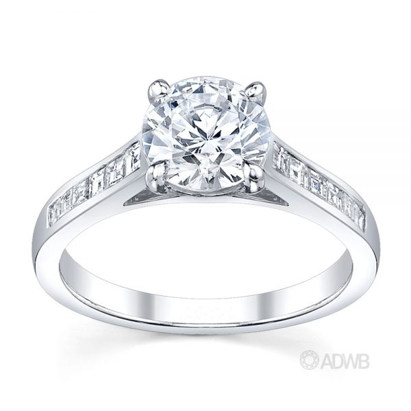 Australian Diamond Broker - Caroline 4 claw round brilliant cut diamond solitaire ring with princess cut channel set diamond