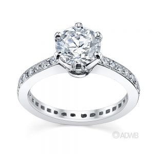 Australian Diamond Broker - Tiff 6 claw round brilliant cut diamond solitaire ring with full circle grain set diamond band