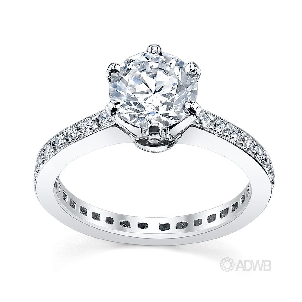 Australian Diamond Broker - Tiff 6 claw round brilliant cut diamond solitaire ring with full circle grain set diamond band
