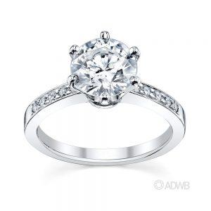 Australian Diamond Broker - Tiff 6 claw round brilliant cut diamond solitaire ring with grain set diamond band
