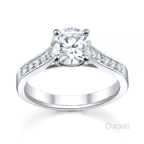 Australian Diamond Broker - Traditional round brilliant cut diamond ring with bead set diamond band
