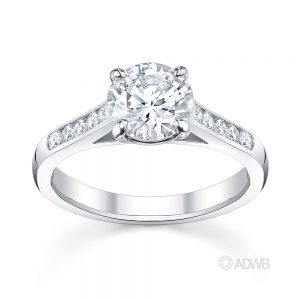 Australian Diamond Broker - Traditional round brilliant cut diamond ring with channel set diamond band