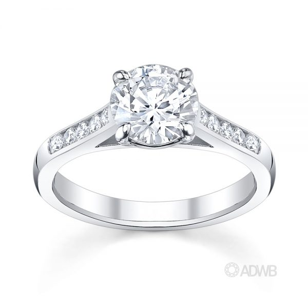Australian Diamond Broker - Traditional round brilliant cut diamond ring with channel set diamond band