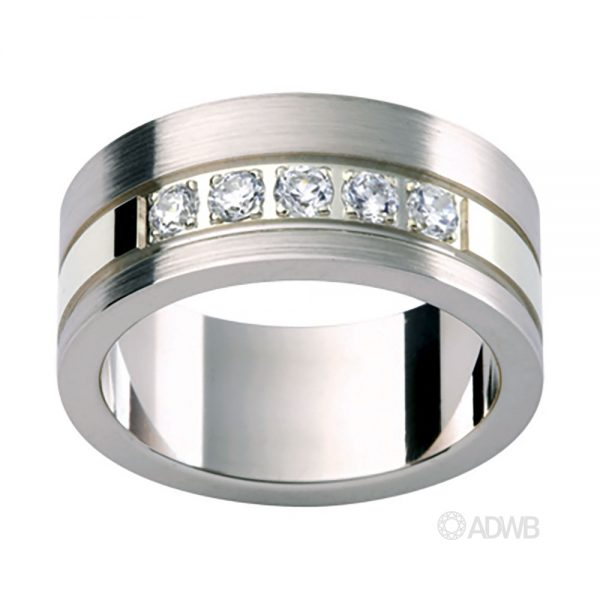 Australian Diamond Broker - 18ct White Gold 5 Diamond Set Band