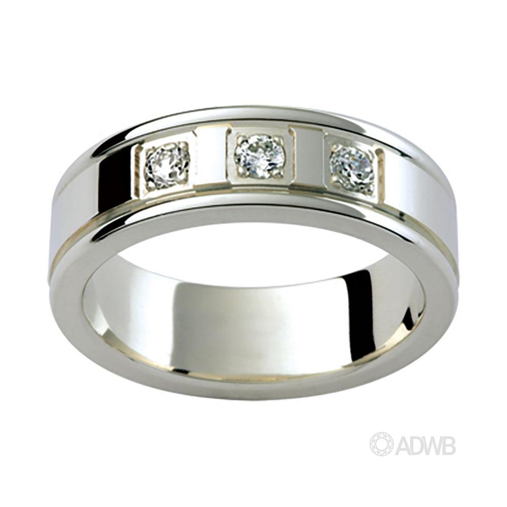 Australian Diamond Broker - 18ct White Gold 3 Diamond Set Band