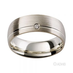 Australian Diamond Broker - 18ct White Gold Matt Finish Diamond Set Band