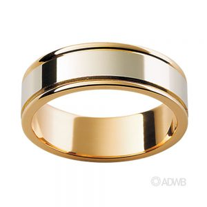 Australian Diamond Broker - 18ct White and Yellow Gold Flat Band