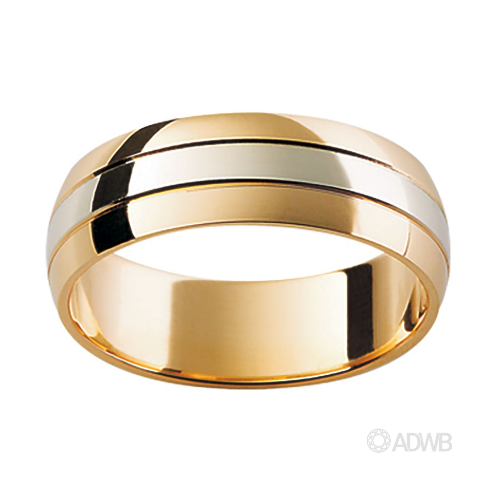 Australian Diamond Broker - 18ct Yellow and White Gold Domed Grooved Band
