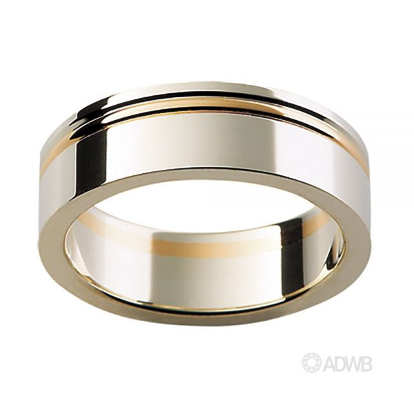 Australian Diamond Broker - 18ct White and Yellow Gold Flat Band with Strip