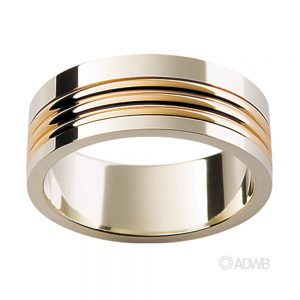 Australian Diamond Broker - 18ct White and Yellow Gold Ribbed Band
