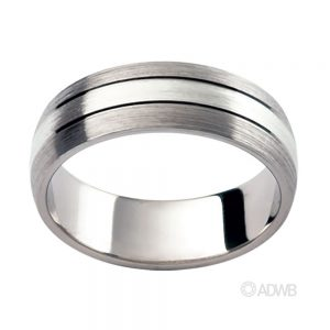 Australian Diamond Broker - 18ct White Gold Matt Finish Domed Grooved Band