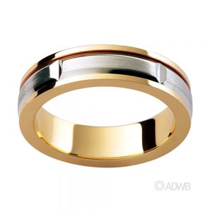Australian Diamond Broker - 18ct Two Tone Matt Finish Groove Band