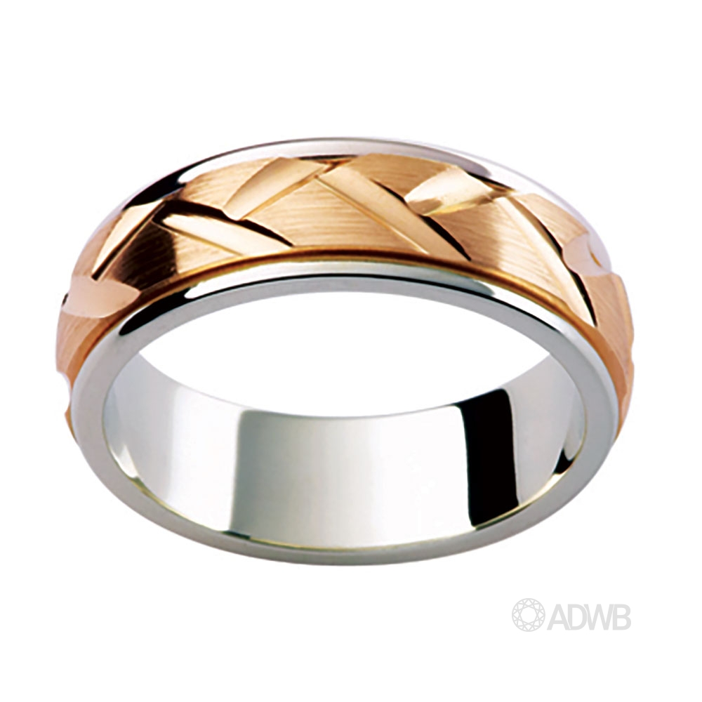 Australian Diamond Broker - 18ct Two Tone Woven Groove Band