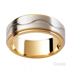 Australian Diamond Broker - 18ct White and Yellow Gold band with Swirling Groove