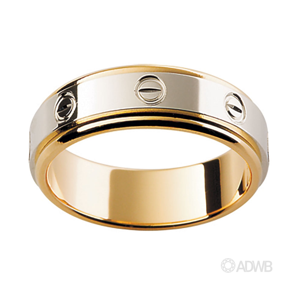Australian Diamond Broker - 18ct White and Yellow Gold Band with Screw Design
