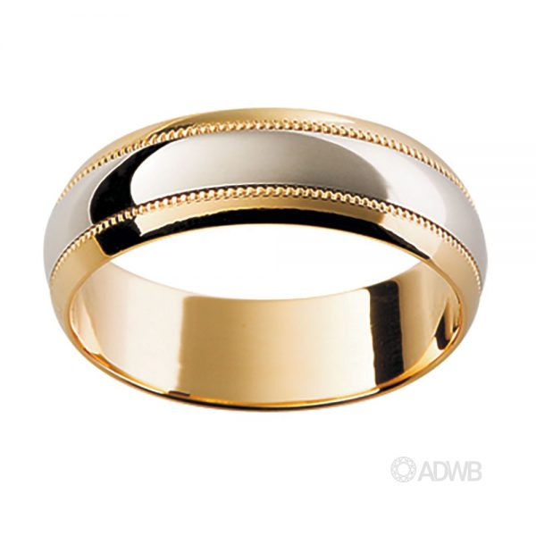 Australian Diamond Broker - 18ct White and Yellow Gold Band with Etched Pattern