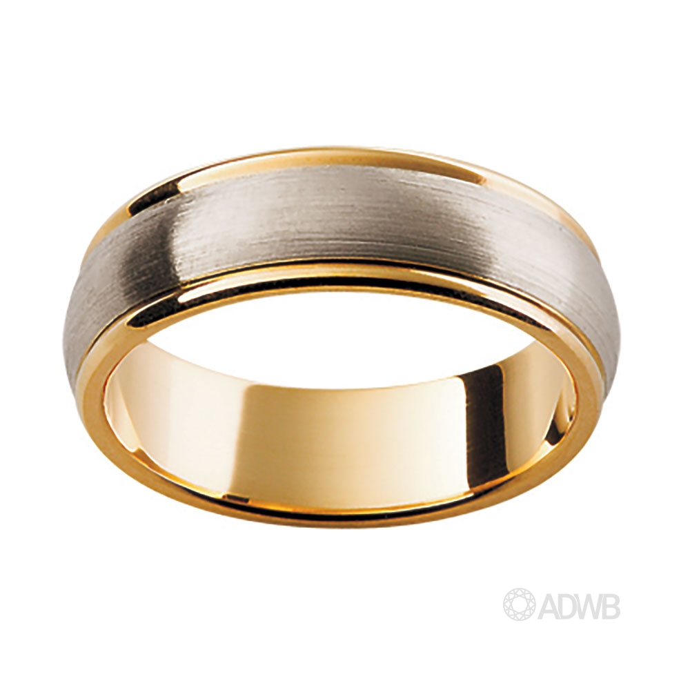 Australian Diamond Broker - 18ct White and Yellow Gold Band with Matt Finish Centre