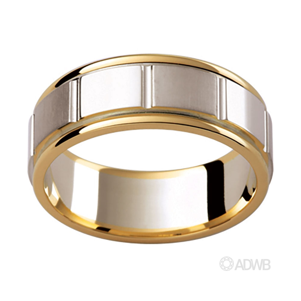Australian Diamond Broker - 18ct Yellow and White Gold with Patterned Edge Design