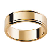 Australian Diamond Broker - 18ct Yellow Gold Flat Band with Grooves on Sides