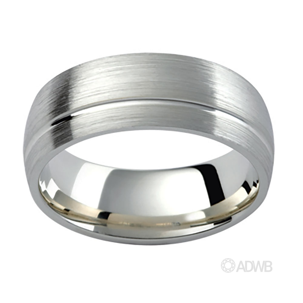 Australian Diamond Broker - 18ct White Gold Grooved Matt Finished Band