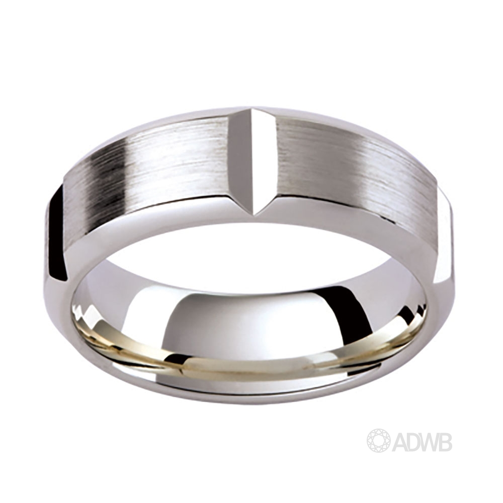 Australian Diamond Broker - 18ct White Gold Cut Out Grooved Band