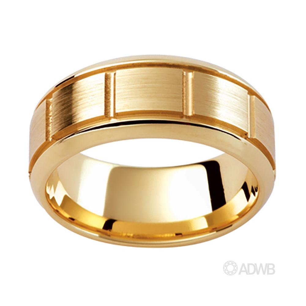 Australian Diamond Broker - 18ct Yellow Gold Grooved Side Bar Ring