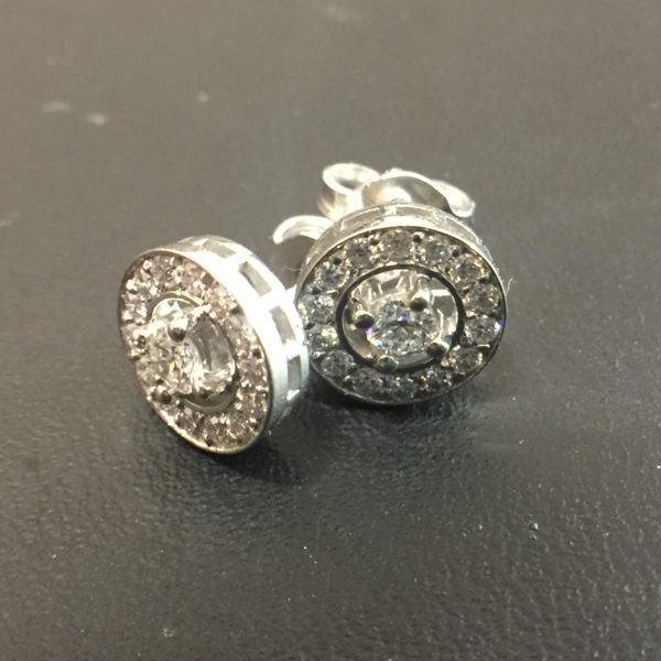 Australian Diamond Brokers - 18ct white gold art deco style earrings