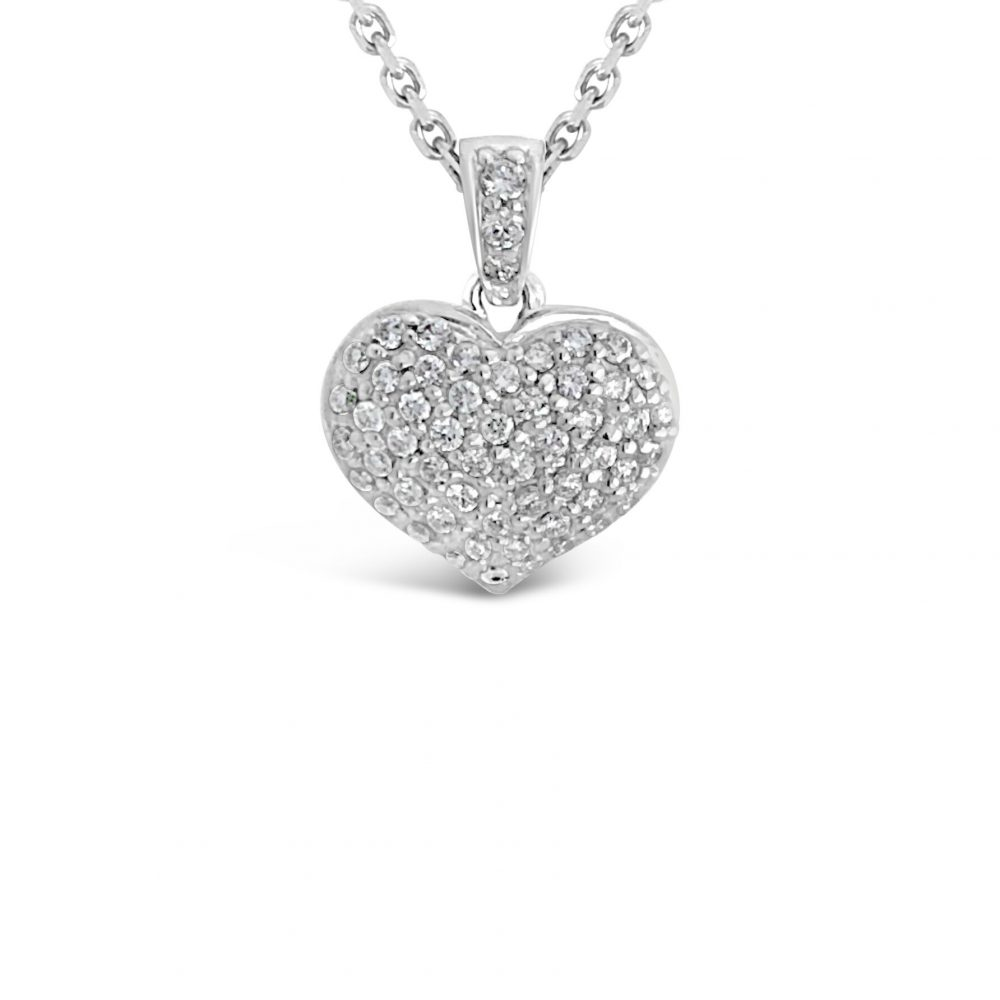18ct white gold round brilliant cut diamond heart shaped pendant
