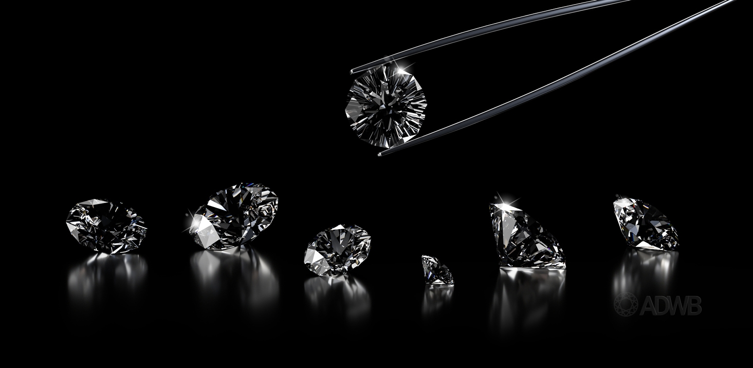 lab-grown diamonds with black background