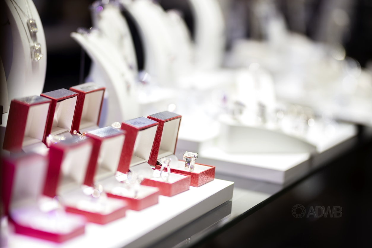 lab-grown diamond rings in jewelry store